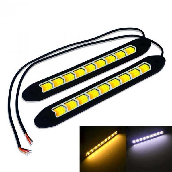2PCS Flexible COB Car LED DRL Daytime Running Light Turn Signal White Yellow