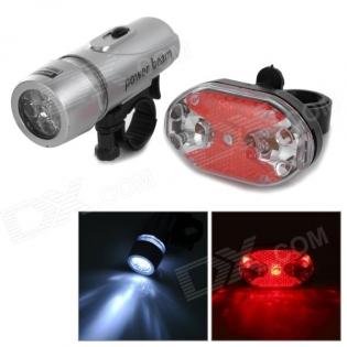 enlarge Bike LED set Headlamp + 5-LED Rear Tail Warning Light